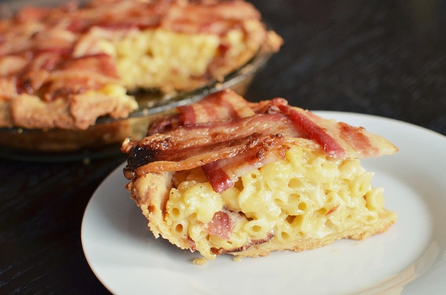 Macaroni And Cheese Pie With A Bacon Lattice--clearly, i would sub out pre-made pie crust. too lazy to knead and chill anymore.