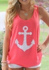 Olive Anchor Tanks Top