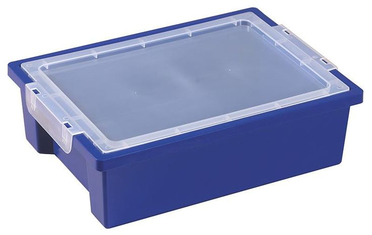 ECR4Kids ELR-0725-BL Small Storage Bins with Lid - Blue - Set of 20