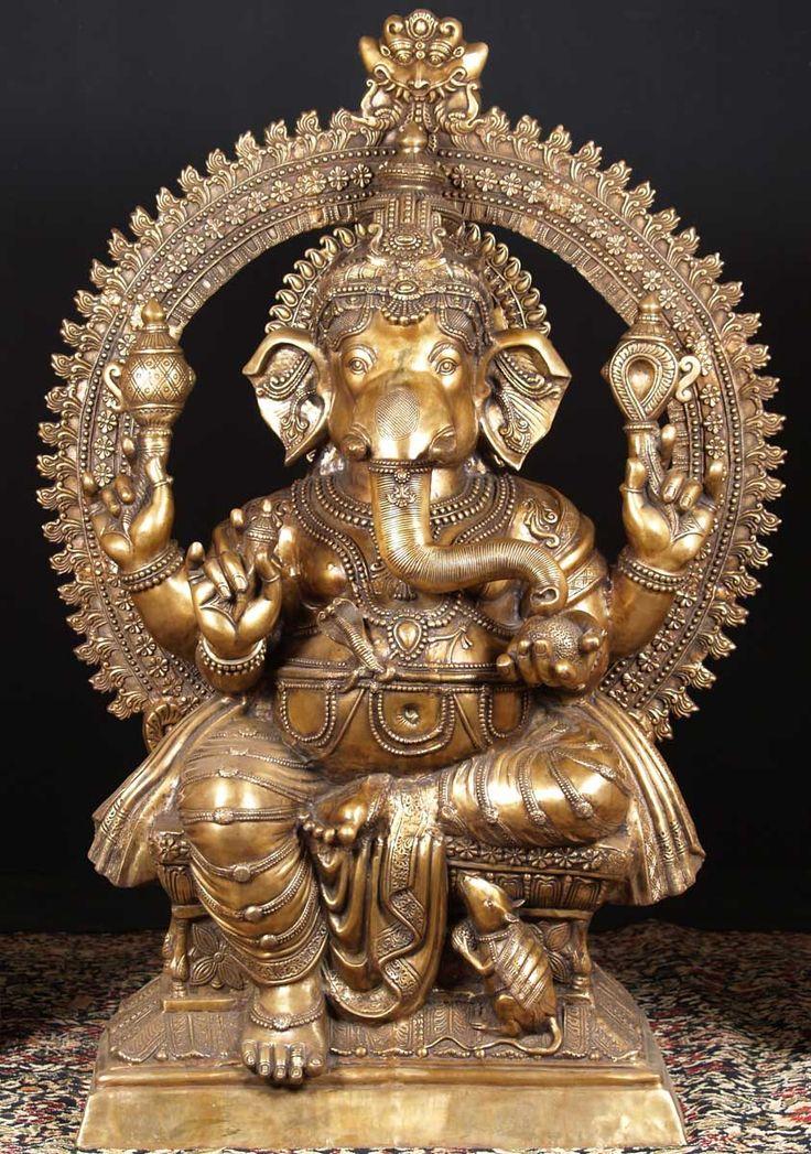 Brass large ganesh statue with rat 70 ganesh