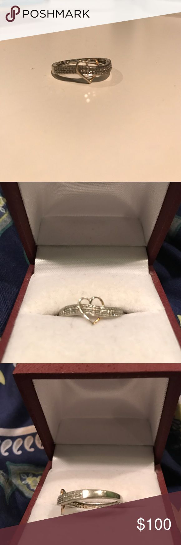Piercing Pagoda Ring Very pretty ring purchased from piercing pagoda. 10K two-tone gold design features a fluid row of diamonds totaling 1/7 ct. crossing through a polished, open golden heart at the center. piercing pagoda Jewelry Rings