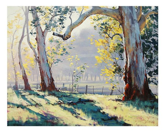 Australian GUM TREES PAINTING commissioned by GerckenGallery, $365.00