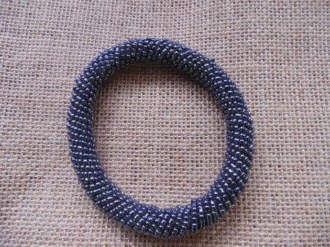 Beaded Bangle-Blue Metallic Variation 2 – Lillon Boutique