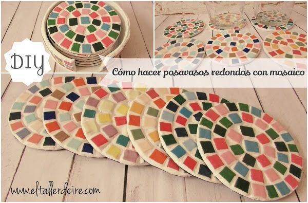 Cómo hacer posavasos redondos con mosaicos | Aprender manualidades es facilisimo.com