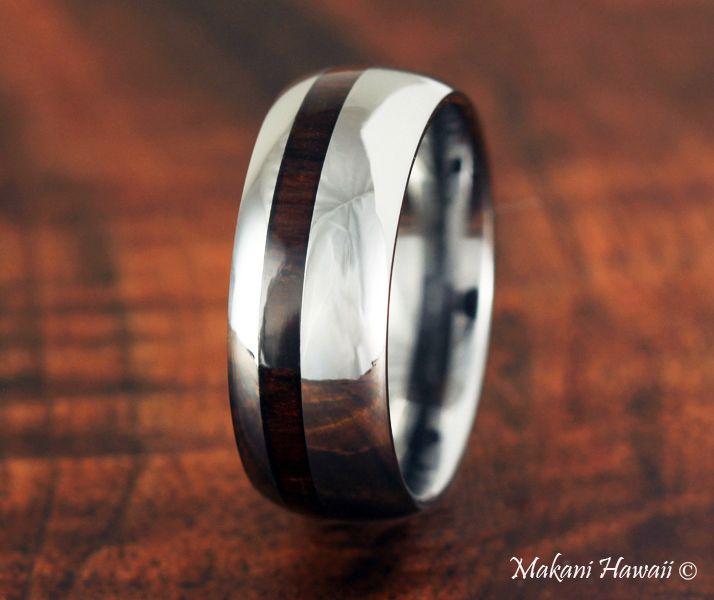 8mm Tungsten High Polish Cocobolo Inlaid Wedding Ring - Makani Hawaii,Hawaiian Heirloom Jewelry Wholesaler and Manufacturer