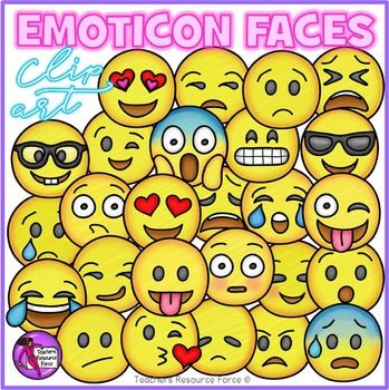 Emoji smiley faces clip art showing different emotions. A 52 piece high quality set of hand rendered clip art containing a huge variety of different smiley face emoji emoticons! These emojis would be perfect for grabbing the attention of your kids in teaching resources, bulletin boards, posters, certificates etc. - you name it, they'll love it!