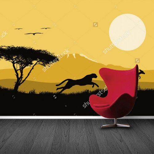 Fotobehang Luipaard op jacht   Maak het jezelf eenvoudig en bestel fotobehang voorzien van een lijmlaag bij YouPri om zo gemakkelijk jouw woonruimte een nieuwe stijl te geven. Voor het behangen heb je alleen water nodig!   #behang #fotobehang #print #opdruk #afbeelding #diy #behangen #savanne #safari #luipaard #illustratie #afrika