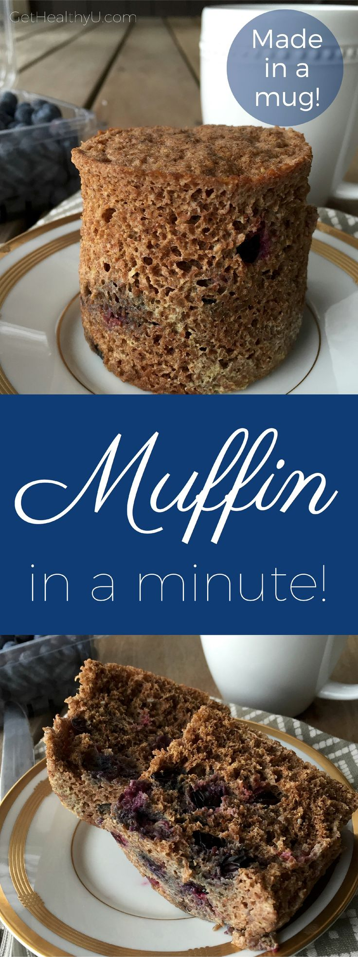Check out your new go-to breakfast- This quick easy, healthy, low carb and high fiber muffin is perfect to grab and go!  Make it with any fruit and nuts you have on hand- grab a mug and microwave!