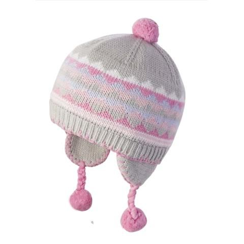 Breckenridge Baby Girl Intarsia Knit Hat Grey and Pink with Cotton Lining 816b21f89bf6