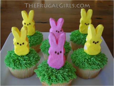How to Make Oh-So-Cute Peeps Cupcakes! ~ from TheFrugalGirls.com #peeps #cupcakes #easter #desserts