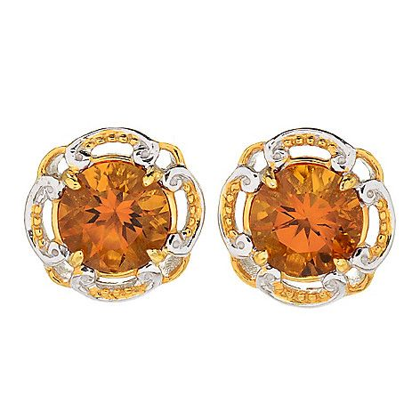 170-494 - Gems en Vogue  3.60ctw Ametista  Madeira Citrine  Stud Earrings