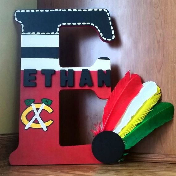 Go Hawks Etsy listing at https://www.etsy.com/listing/222270366/chicago-blackhawks-wooden-letter