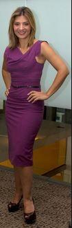 Purple dress -Cowl neckline.
