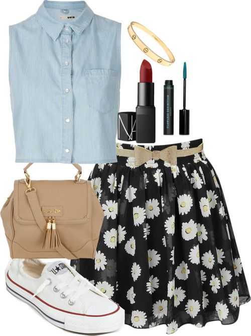 top, skirt, shoes, red lipstick