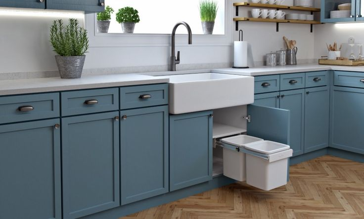 Cottage Style Kitchen - Hideaway Compact Floor Mount Bin KCF215SCH