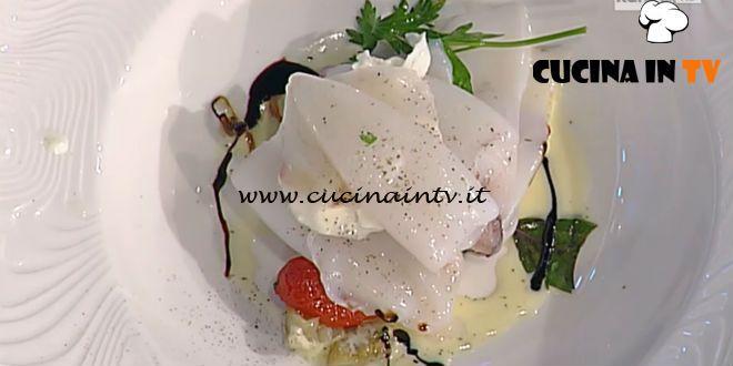 Calamaretti in vapore di erbe melanzane burrata e aceto balsamico tradizionale ricetta Pascucci La Prova del Cuoco | Cucina in tv