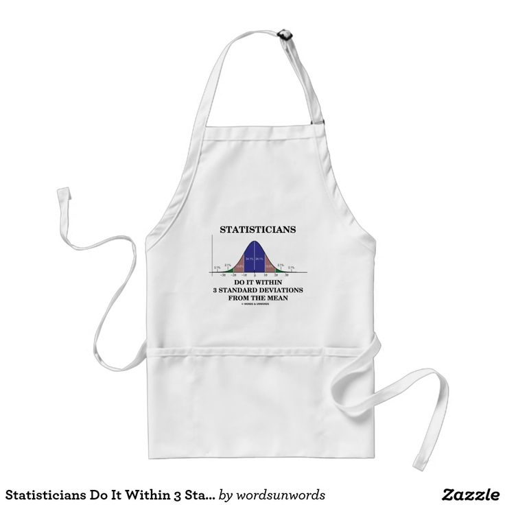 """Statisticians Do It Within 3 Standard Deviations Adult Apron #statistics #statisticians #standarddeviations #bellcurve #geek #humor #within #wordsandunwords #stats #saying #normaldistributioncurve Here's an apron featuring the following statistical saying: """"Statisticians Do It Within 3 Standard Deviations From The Mean""""."""