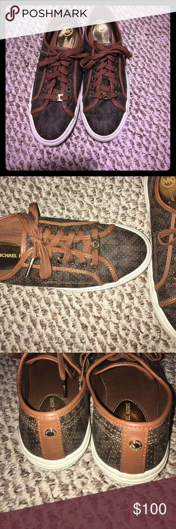 Michael Kors brown leather sneakers Michael Kors brown leather sneakers! Super cute for the summer! Only wore twice! Make a offer! MICHAEL Michael Kors Shoes Sneakers