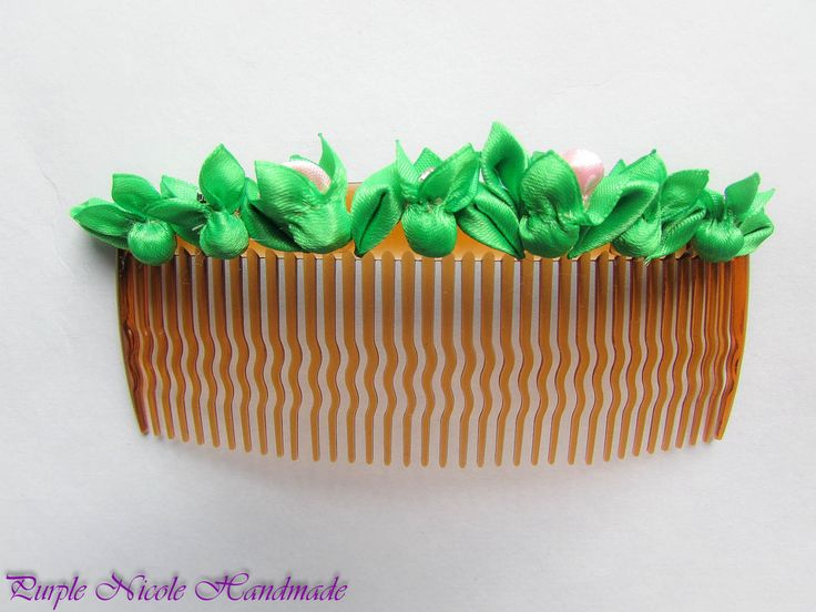 Fresh - Handmade Decorative Hair Comb by Purple Nicole (Nicole Cea Mov). Materials: small handmade satin flower buds  leaves.