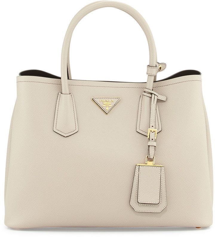 Prada Saffiano Cuir Small Double Bag, Light Gray (Pomice) | The ...