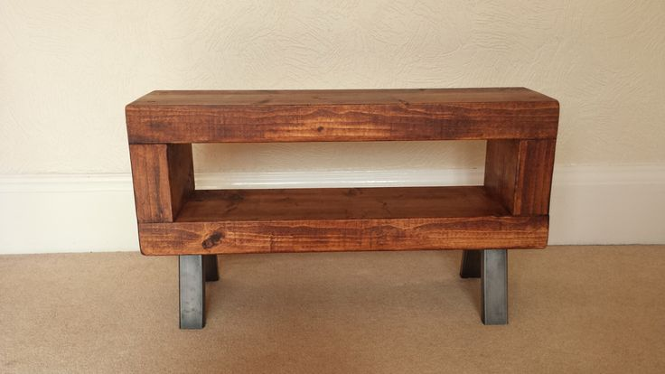 Slim tv stand rustic chunky wooden tv unit with metal legs by Redcottagefurniture on Etsy https://www.etsy.com/uk/listing/228308889/slim-tv-stand-rustic-chunky-wooden-tv