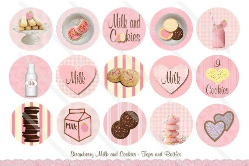 STRAWBERRY MILK and COOKIES 1 Inch Circles Bottle Cap Digital File