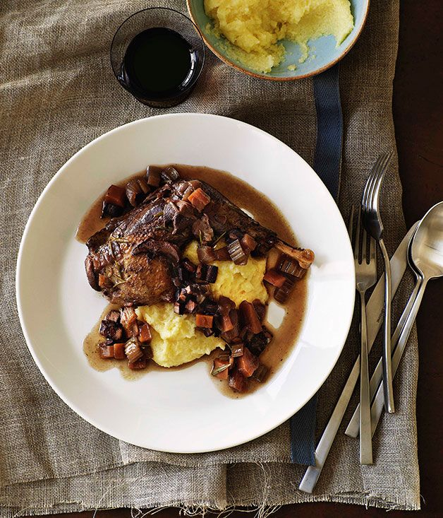 Australian Gourmet Traveller Italian main course poultry recipe for red wine-braised pheasant with polenta