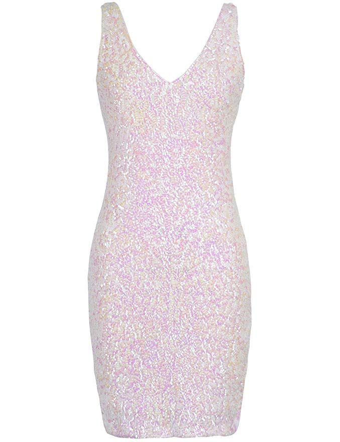 7073d3cb0f Amazon.com  PrettyGuide Women s Sexy Deep V Neck Sequin Glitter Bodycon  Stretchy Mini Party