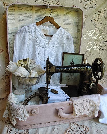 Vintage Suitcase Display With Doilies, Clothing, Photos, Singer Sewing Machine, etc.