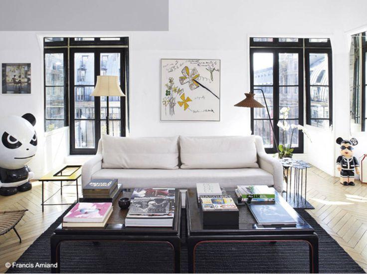 un salon noir et blanc dans lair du temps - Salon Bleu Marine Et Blanc