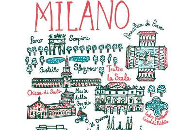 Magnificent Madrid! Julia Gash captures the Spanish capital in all its grandeur in her map like illustration that is both charming and elegant. Little fish swim down river in the Rio Manzanares, which frames Madrid to the west and south and over...