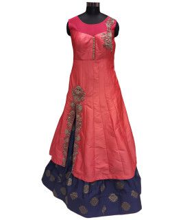 Mystical Pink Silk Lehenga Suit With Dupatta.