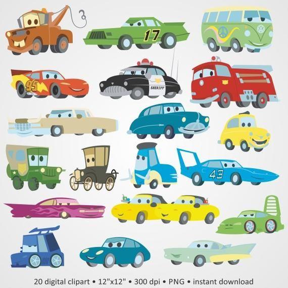 Buy 2 Get 1 Free Digital Clipart Cars Fast Lightning Cartoon