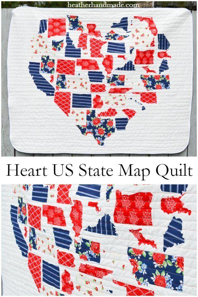 Heart Us State Map Quilt Heather Handmade Map Quilt Free Quilt Tutorials Quilts