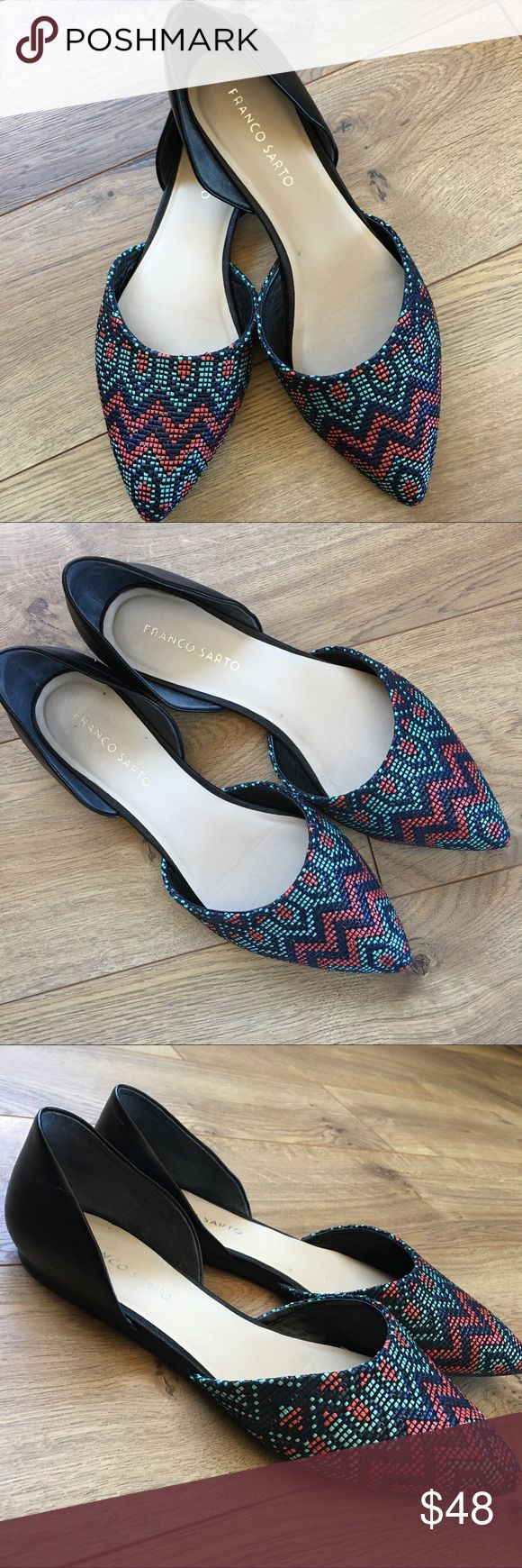 FRANCO SARTO D'orsay Aztec Flat Shoes - 9 FRANCO SARTO D'orsay Aztec Flat Shoes - size 9. Only been worn once. EUC. See small scuff on inside right heel (see last photo). No issues. Smoke free home. Franco Sarto Shoes Flats & Loafers
