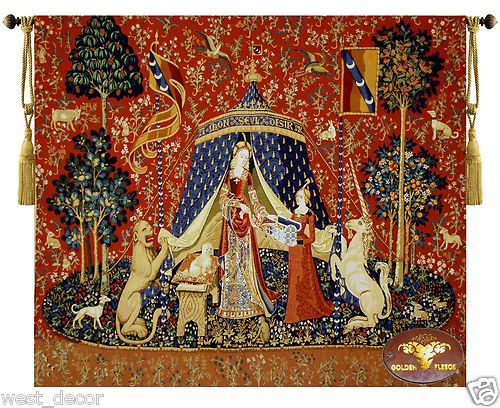 Beautiful Large Medieval lady and Unicorn Woven Fine Tapestry Wall hanging