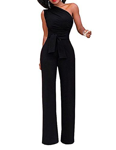 09442be2986 eShakti Women s Sexy Long Romper One Shoulder Solid Jumpsuits Wide Leg  Pants with Belt