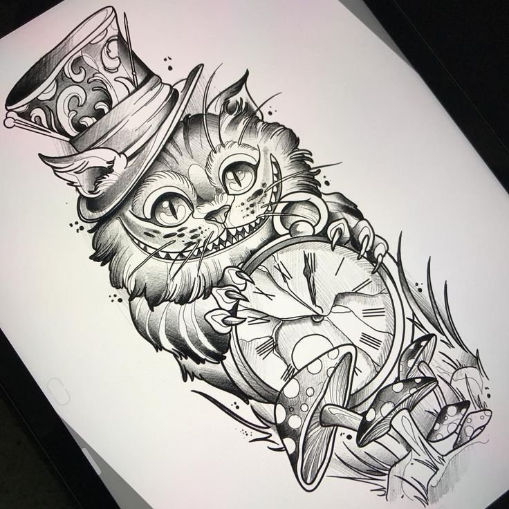 "498 Likes, 10 Comments - Fede Almanzor Tattoo (@fedealmanzor) on Instagram: ""We're All Mad Here ! Uno de los diseños que tatuaré en Alemania #traditional #neotraditional…"""