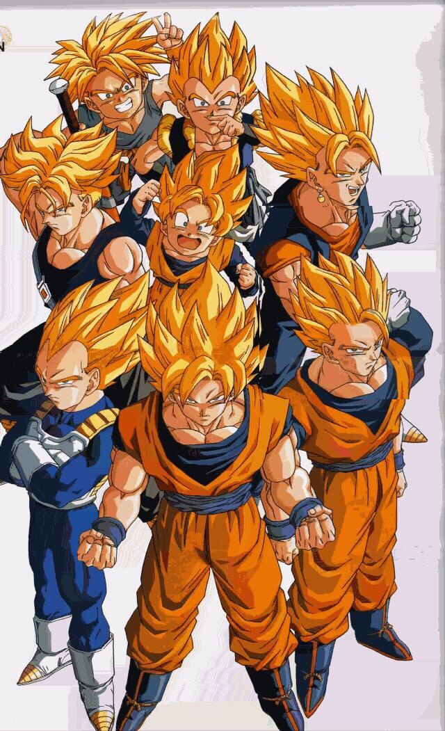 The Super Saiyans. Goku, Vegeta, Gogeta, Gohan, Goten, Trunks, Gotenks, & Future Trunks