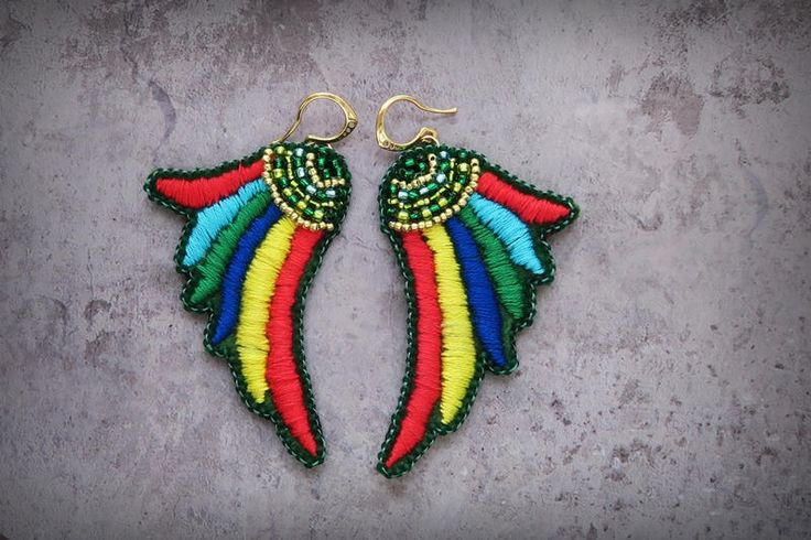 Emroidered Earrings Parrot by AnnaZukowska on Etsy