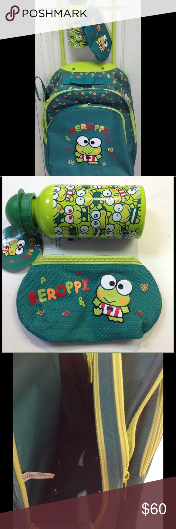 """SANRIO Keroppi Trio Great for travel or school. Rolling backpack 13""""x 17""""x5"""". Has zippered closure both on top and on side. Also a zippered closure outside pocket. Water bottle is pa free and holds 17floz. Pencilcase/holdall measures 8""""x3""""x3"""" Sanrio Bags Backpacks"""