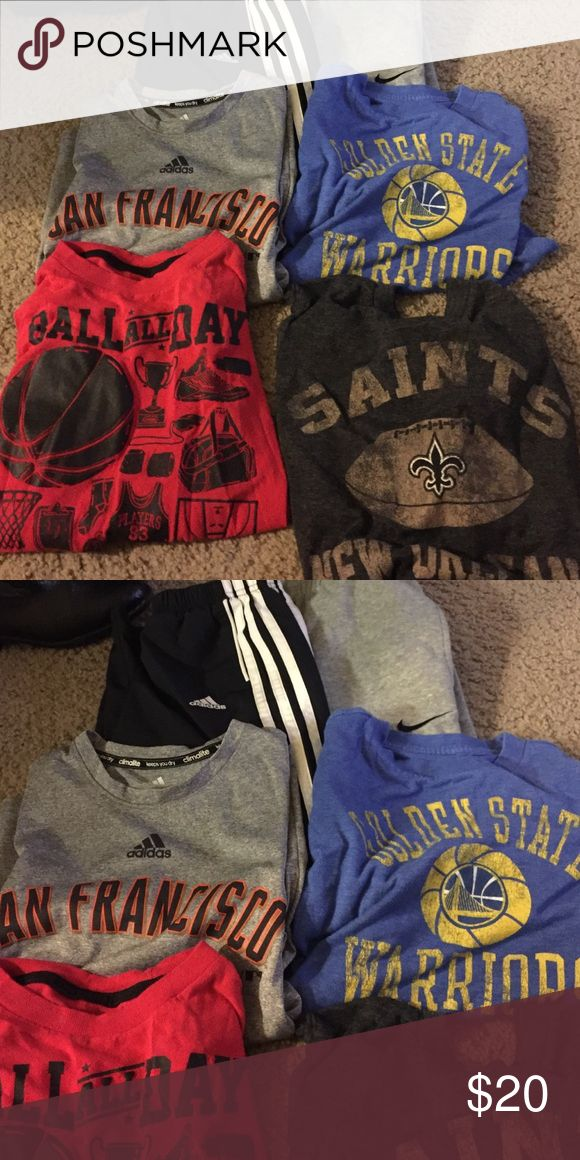 Bundle deal Old navy Nike adidas 3 old navy shirts warriors, ball all day, and saints shirts. Dri fit Adidas SF Giants shirt, and two sweat pants. Windbreaker Adidas sweatpants size S boys. and Nike cotton sweats size S boys. Warriors shirt size xs (5) ball all day and saints shirts 6/7. SF Giants shirt size 8. Old Navy Shirts & Tops Tees - Short Sleeve