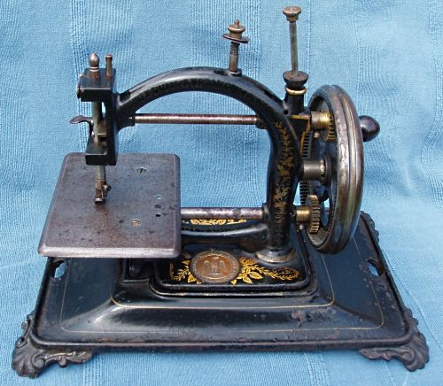 One of Guhl & Harbeck's best selling machines was the Original Express chain stitch machine which was sold under many different names. This particular example was named the National Express and was probably made in the 1880's. It was sold by The National Sewing Machine Co.