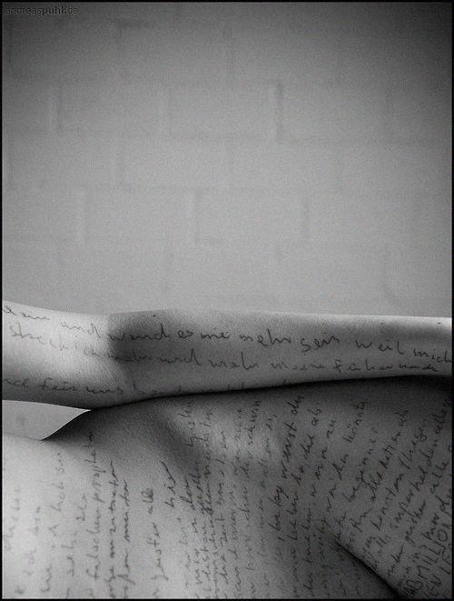 Body Writing. Words. Script. Nude. Tattoo.