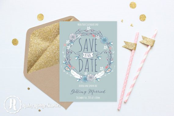 Printable Wedding Save the Date, Bohemian Blue Floral Boho Wedding, Folk Bohemian Style, DIY Printable Invitations Save the Date