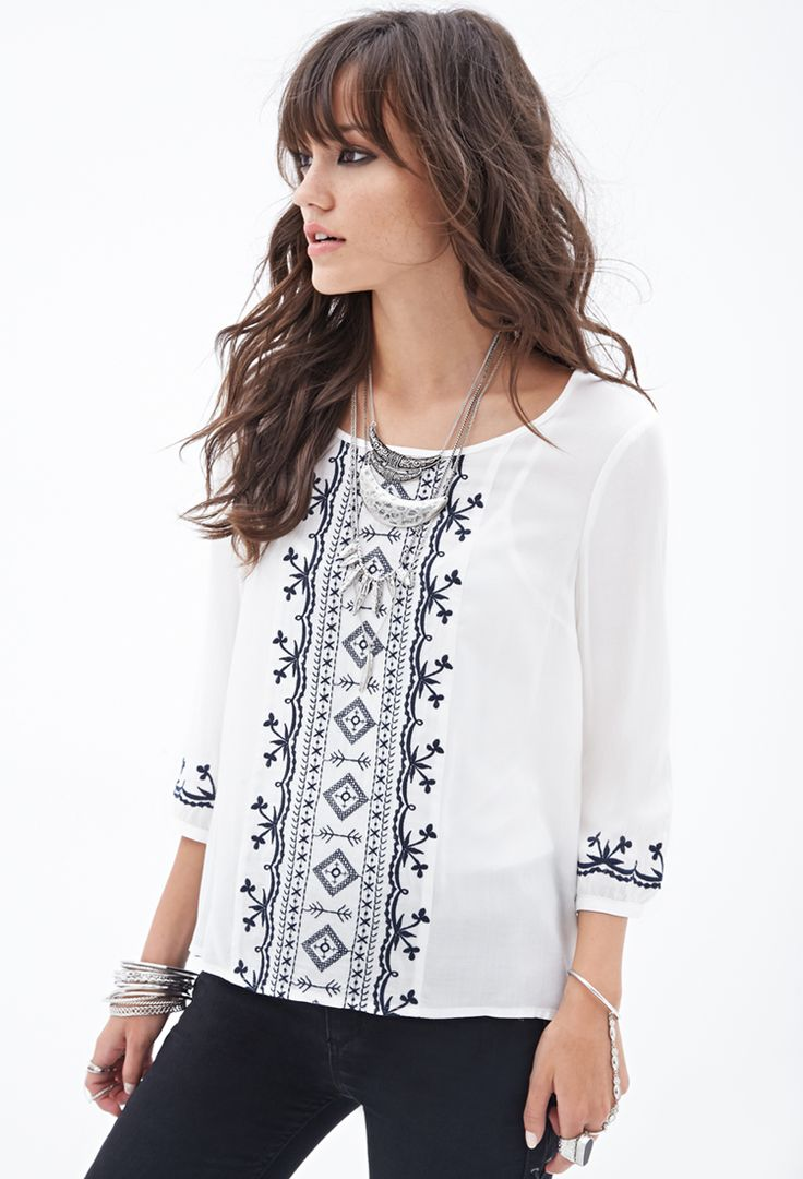 Embroidered Woven Peasant Top #F21StatementPiece