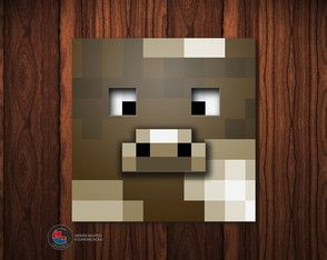 Adesivo Caixa Acrílica Vaca Minecraft