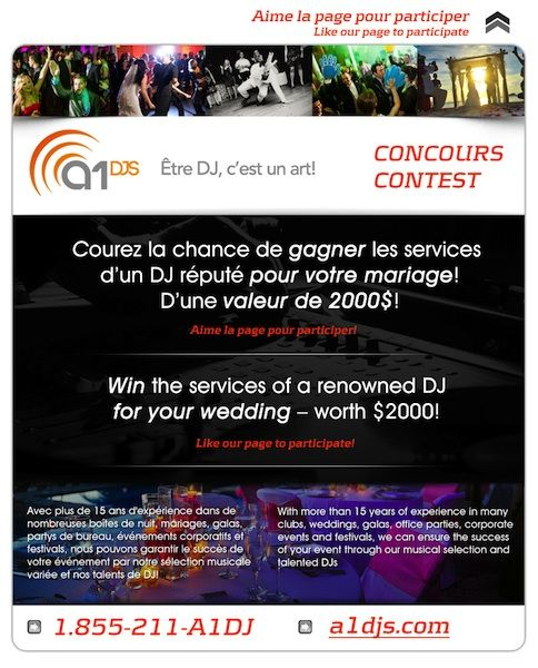 """Our """"WIN a DJ"""" contest! Enter now to get a chance to win the service of a renowned DJ for your wedding! See our facebook page for details!  www.facebook.com/a1djs"""