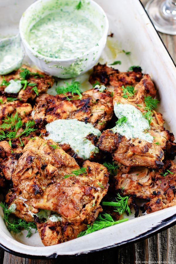 Mediterranean-Grilled-Chicken-with Dill Greek Yogurt Sauce