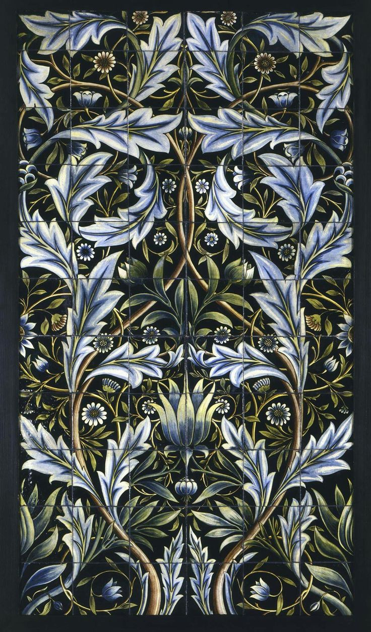William Morris. English textile designer, artist, writer, and socialist - Headley Trust Gallery, sumptuous design for bathroom tiles, commissioned by the architect of Membland Hall in Devon and made in 1876.